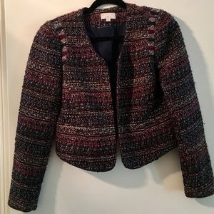 Red/blue/gray Ann Taylor Loft Tweed Blazer, size 0